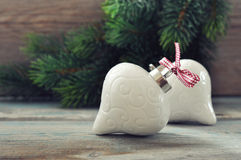 Christmas decoration with red bow Royalty Free Stock Image