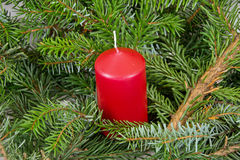 Christmas. Decoration with red candle Stock Photo