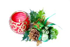 Christmas decoration with red candle Stock Image