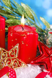 Christmas decoration with red candle Stock Images