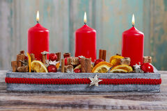 Christmas decoration with red candles Stock Photography