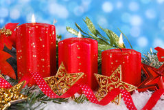 Christmas decoration with red candles Stock Image