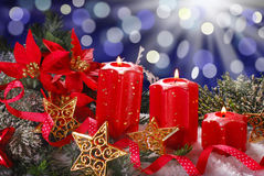 Christmas decoration with red candles Royalty Free Stock Photo