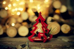 A Christmas decoration. Toy tree with Santa Claus. Stock Photos