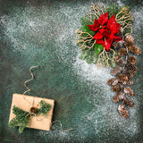 Christmas decoration red flowers gifts vintage toned Stock Images