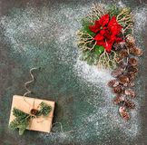 Christmas decoration red flowers wrapped gifts Royalty Free Stock Images