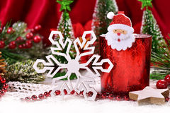 Christmas decoration with red glass candlelight Stock Photography