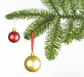 Christmas decoration with red and golden ball. Isolated on white background, studio shot Stock Photos