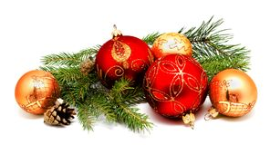 Christmas decoration red golden yellow balls with fir cones Stock Image