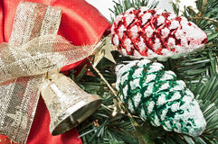 Christmas decoration in red and green. On white Stock Image