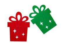 Christmas decoration of red and green flat gift boxes. On white Stock Photography