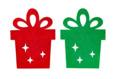 Christmas decoration of red and green flat gift boxes. On white Royalty Free Stock Photos