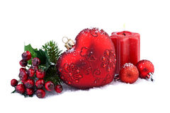 Christmas decoration with red heart Royalty Free Stock Photography