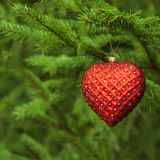 Christmas decoration red heart Stock Image