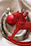 Christmas decoration with red horse figure stock photos