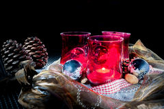 Christmas decoration with red lanterns Royalty Free Stock Image