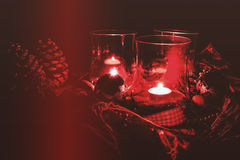 Christmas decoration with red lanterns Stock Photography