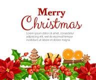 Christmas decoration red poinsettia flower and mistletoe with green leaves gingerbread orange slice canela stick  illustrati. On isolated on white background Stock Image
