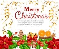 Christmas decoration red poinsettia flower and mistletoe with green leaves gingerbread orange slice canela stick  illustrati. On isolated on white background Stock Images