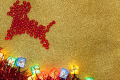 Christmas Decoration and red reindeer Stock Photos