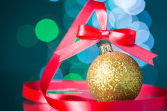 Christmas decoration with red ribbon Stock Photo