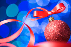 Christmas decoration with red ribbon Royalty Free Stock Photo