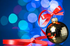 Christmas decoration with red ribbon Royalty Free Stock Photography