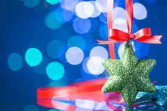 Christmas decoration with red ribbon Stock Photography