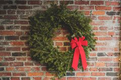 Christmas decoration with a red ribbon royalty free stock photo