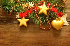 Christmas decoration, red ribbon and Xmas tree stock photo