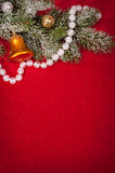 Christmas decoration on red sackcloth Stock Photo