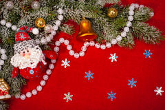 Christmas decoration on red sackcloth Royalty Free Stock Photography