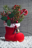 Christmas decoration.Red Santa`s boot with fir tree branch,decorative holly berry leaves,candy cane. Royalty Free Stock Photos