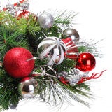 Christmas Decoration. Red and Silver Balls on Christmas tree. Branch isolated on white background. Holidays stock images
