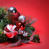 Christmas Decoration. Red and Silver Balls on Christmas tree Royalty Free Stock Photo