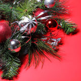 Christmas Decoration. Red and Silver Balls on Christmas tree Royalty Free Stock Photos
