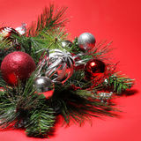 Christmas Decoration. Red and Silver Balls on Christmas tree Stock Image