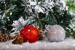 Christmas decoration red and silver balls in a tree with tinsel and pinecone in snow. Christmas decoration, red and silver balls in a snowed tree with pinecones royalty free stock images