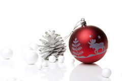 Christmas decoration red and silver Stock Photography