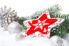 Christmas decoration red and silver Royalty Free Stock Photos