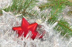 Christmas decoration with red star Royalty Free Stock Image