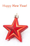 Christmas decoration red star in the snow, isolated Royalty Free Stock Images