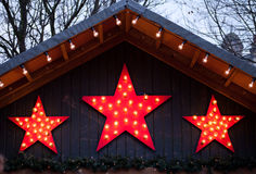 Christmas decoration- red stars Stock Images