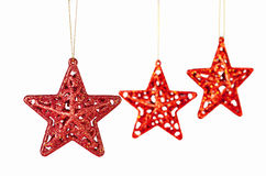 Christmas Decoration. Red Stars On White Royalty Free Stock Photos