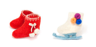 Christmas decoration red toy skate boots made with wool Royalty Free Stock Photography