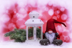 Christmas decoration on red and white abstract background Royalty Free Stock Photography