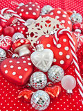 Christmas decoration in red and white Stock Images