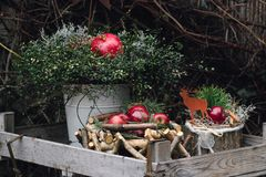 Christmas decoration with red winter apples and pomegranate frui. T in wooden box Royalty Free Stock Images
