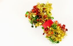 Christmas decoration red yellow and green on white backgrounds. Christmas decoration red yellow and green Isolated on white backgrounds stock photography