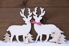 Christmas Decoration, Reindeer Couple In Love, Snow, Tree Royalty Free Stock Images